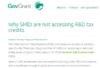 Why SMEs are not accessing R&D tax credits