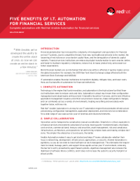 Five Benefits of IT Automation for Financial Services