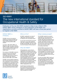 ISO 45001 factsheet: read about the new international standard for Occupational Health & Safety