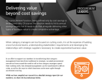 Delivering Value Beyond Cost Savings