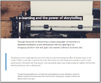 E-Learning and the Power of Storytelling