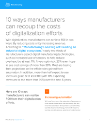10 Ways Manufacturers Can Recoup the Costs of Digitalisation Efforts